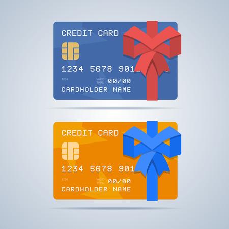 Verpakte gift credit card met lint in vlakke stijl.