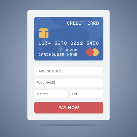 cardholder: Payment application form with credit card illustration in flat style and input forms
