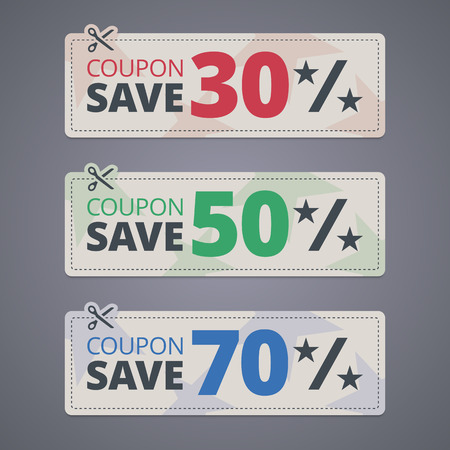 scissors cutting: Scissors cutting coupons with discounts.  Illustration