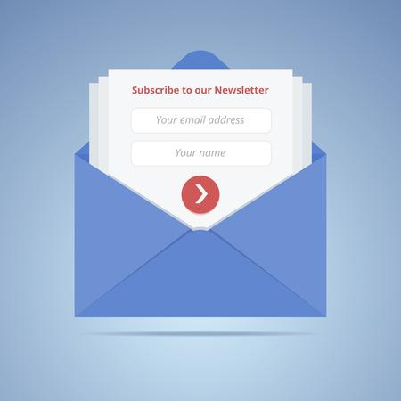 Blauwe envelop met inschrijvingsformulier in vlakke stijl voor e-mail marketing of website.