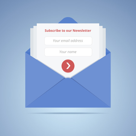 internet button: Blue envelope with subscription form in flat style for email marketing or website.  Illustration