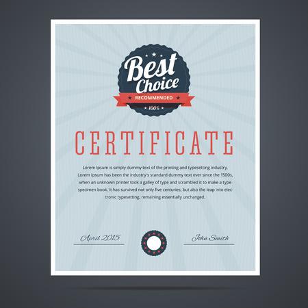Beste keuze certificaat voor product of dienst. Vector illustratie.