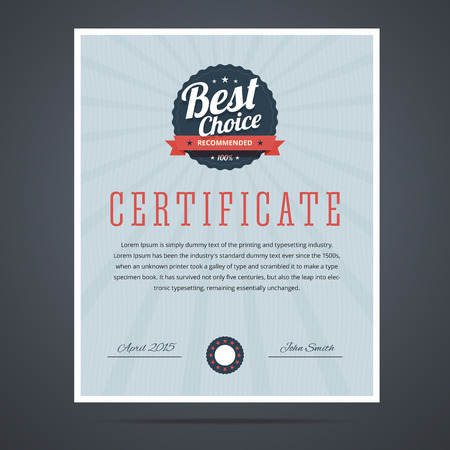 Best choice certificate for product or service. Vector illustration. Illustration