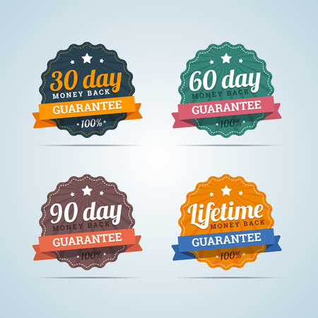 Set of money back badges in flat style. 30, 60, 90 days and Lifetime guarantee. Vector illustration. Vettoriali