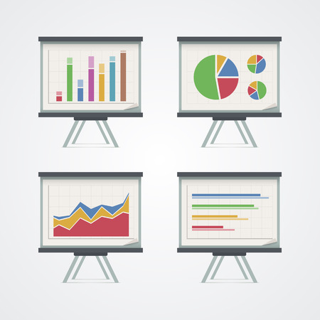 screen print: Set of presentation boards with pie charts, diagram and graphs. Vector illustration.