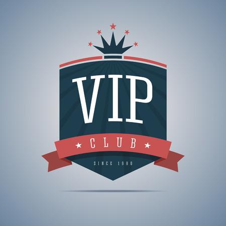 rey: Signo Vip club con la cinta, la corona y las estrellas. Ilustración del vector.