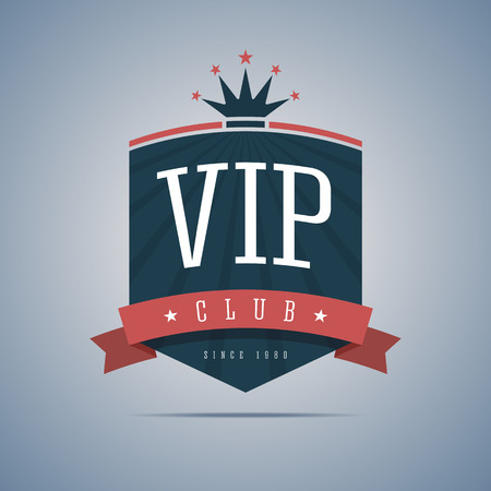 Vip club sign with ribbon, crown and stars. Vector illustration. Vettoriali