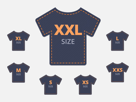 size: Size clothing t-shirt stickers set. Vector illustration.