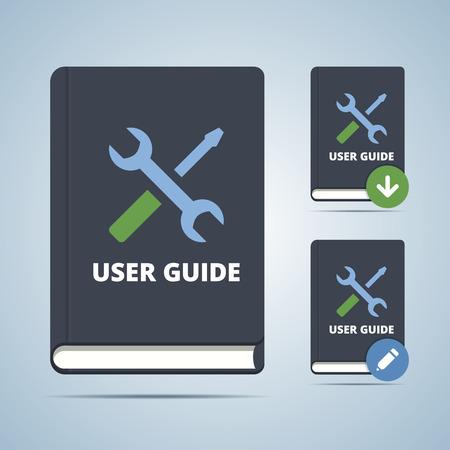 Guía del usuario de la ilustración libro manual en estilo plano con la configuración de iconos y descarga edición modofications.