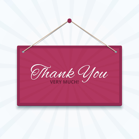 thank you very much: Pink sign on the wall with a rope and calligraphic words Thank you very much. Vector illustration in EPS10 format. Illustration