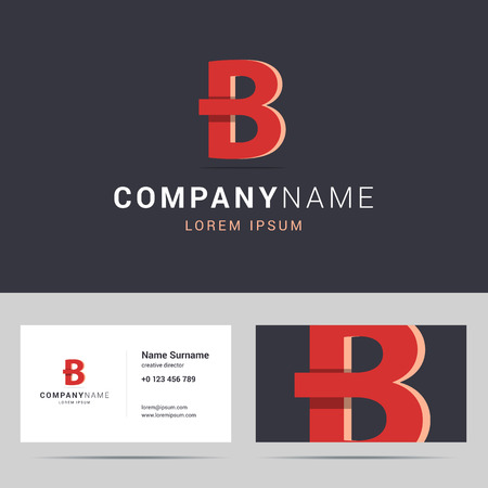 business background: Business card template. Stylized letter A with overlapping and shadow. Red color on dark background.