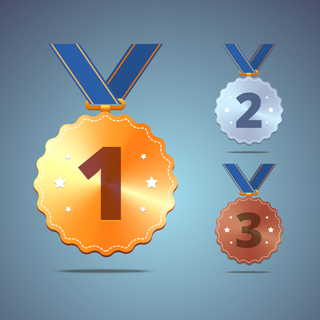 sports winner: Gold, silver and bronze medals with ribbon. Vector illustration.