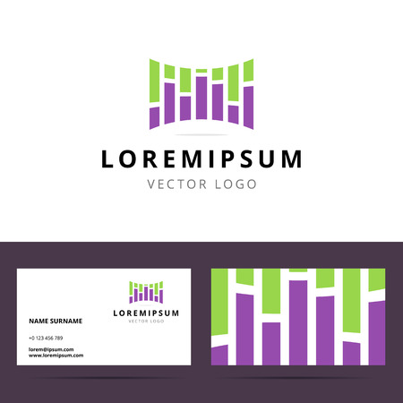 sound card: Logo and business card template for sound or creative studio with equalizer sign. Vector illustration