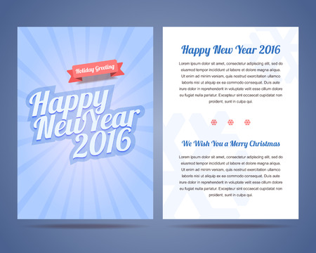 greeting card backgrounds: Happy New Year 2016 and Merry Christmas 2016 flyer, poster,  greeting card with to sides. Calligraphic text on blue snowy background with rays.