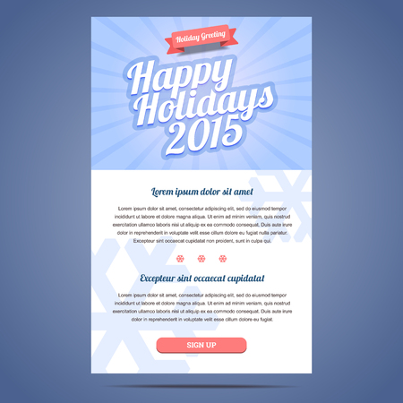 email: Email template with greeting Christmas and Happy New Year. Vector illustration.