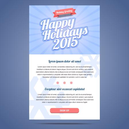 correo electronico: Plantilla de correo electrónico con el saludo de Navidad y Feliz Año Nuevo. Ilustración del vector.