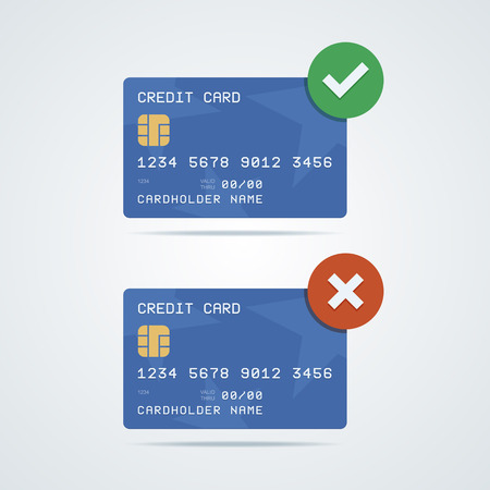e money: Credit, debit card with chip, number, cardholder name and expiration date. Accepted and declined credit card variants. Green accept icon and red decline icon. Vector illustration in a flat style. Illustration