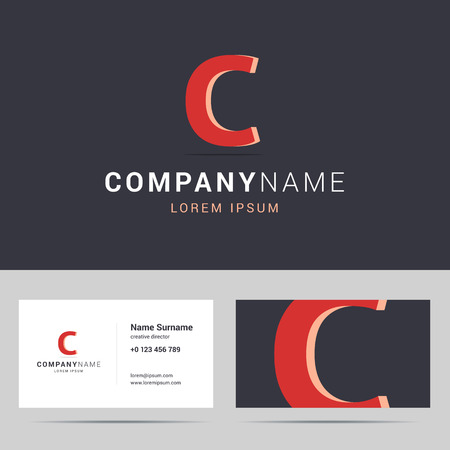 letter c: Logotype, logo and business card template. Stylized letter C with 3d effect and shadow. Red color on dark background. A business card design with two sides. Vector illustration.