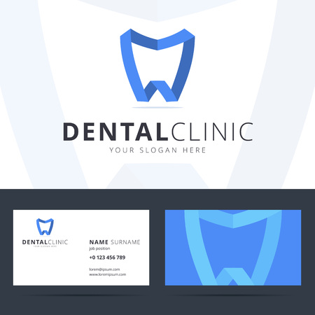 Logo and business card template for dental clinic. Dental logo with tooth sign. Origami, ribbon log. Scalable vector dentist logo. Two sided business card with company logo and slogan. Vettoriali
