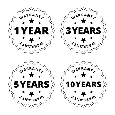 one year warranty: Black and white warranty stickers, labels, stamps, badges with star, cut out lines. One year warranty stamp. Tree years warranty stamp. Five years warranty and ten years. Vector illustration. Illustration