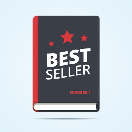 Bestseller boek icoon. Boek award met ster vormen. Nummer één boek vector icon. Bestseller label. Flat boekillustratie.