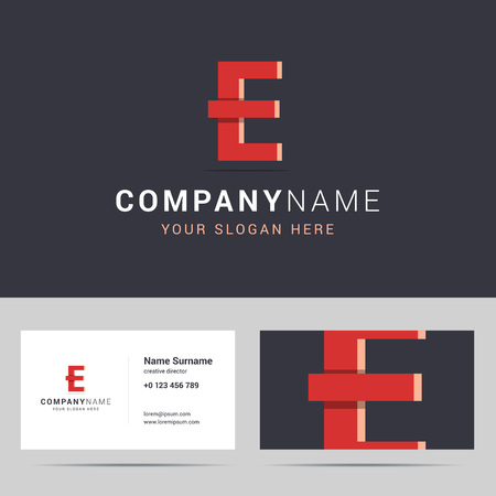 big size: Logotype, logo template and business card template. Logotype with E letter sign. Two sided business card layout with phone number, address and big letter E on the other size. E letter with overlapping and 3d effects. Vector illustration.