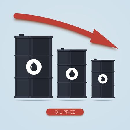 barril de petróleo: Aceite precio del barril cae gráfico. infografía petróleo. tendencia del mercado del petróleo. barril plana de la ilustración de aceite. precio mundial del petróleo, aceite de infografía. Ilustración del vector en estilo plano