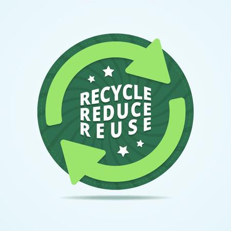 reciclar: Reciclar, reducir, reutilizar placa. sello de reciclaje. etiqueta de reutilización. etiqueta de reciclaje redonda con dos flechas y estrellas. Resumen de fondo con rayos retorcidos. Ilustración del vector en estilo plano.