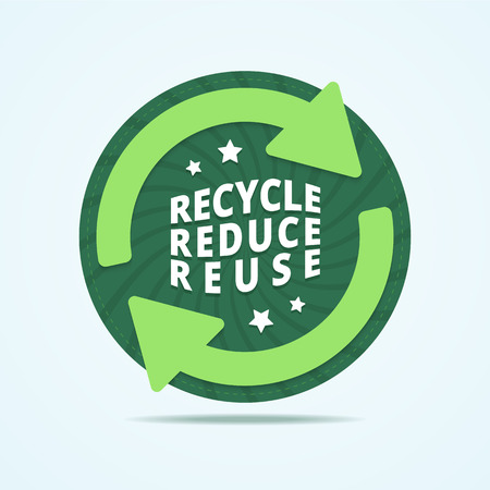 reduce: Recycle, reduce, reuse badge. Recycle stamp. Reuse label. Round recycle label with two arrow and stars. Abstract background with twisted rays. Vector illustration in flat style. Illustration