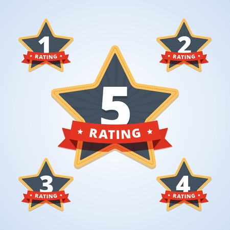 one: Set of a rating stamp, badge. Labels with star shape and ribbon. One star rating badge. Two, three, four stars rating badge. Five stars rating. Hotel rating. Vector illustration in flat style. Illustration