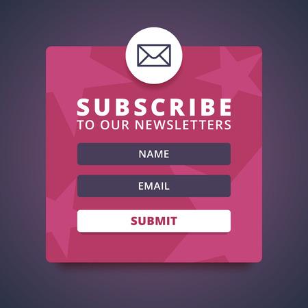 Abonnez-vous à notre formulaire de lettre d'information. Inscrivez-forme avec l'enveloppe, signe email. Vector icône d'enveloppe. Nom et email entrée formes. Bouton de soumission. Red background abstrait avec des étoiles. Vector illustration. Banque d'images - 52453908