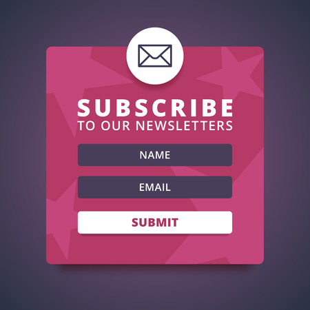 Subscribe to our newsletter form. Sign up form with envelope, email sign. Vector envelope icon. Name and email input forms. Submit button. Red abstract background with stars. Vector illustration.