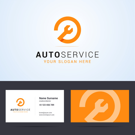 Logo and business card template, layout for auto service, repair service, system administrator, car service. Wrench orange sign, origami, overlapping style. Vector illustration. Vettoriali