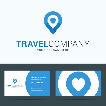 pin: Logo and business card template for travel company. Map pointer sign with heart shape. Travel agency logotype. Vector illustration in flat style. Illustration