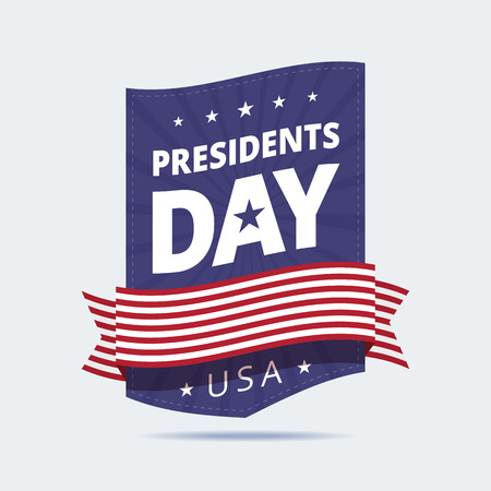 patriotic background: Presidents Day banner. Presidents Day sign, badge. Banner with ribbon in american flag colors. Vector illustration in flat style.