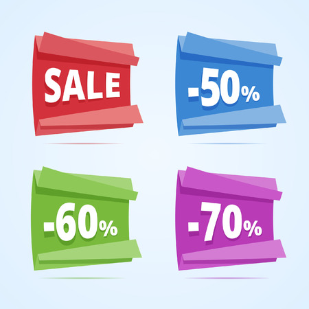 50 to 60: Set of paper style discount banners. Sale banner, 50, 60 and 70 percents off. Vector illustration in flat style.