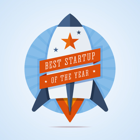 brandweer cartoon: Best startup of the year illustration. Rocket with ribbons in flat style. Blue round background with rays. Start up badge. Best startup medal. illustration.