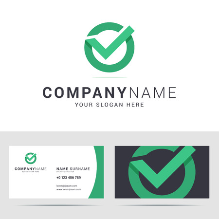 business card template in flat style. Check mark icon. Checkbox sign. Origami style with overlapping effect. illustration.