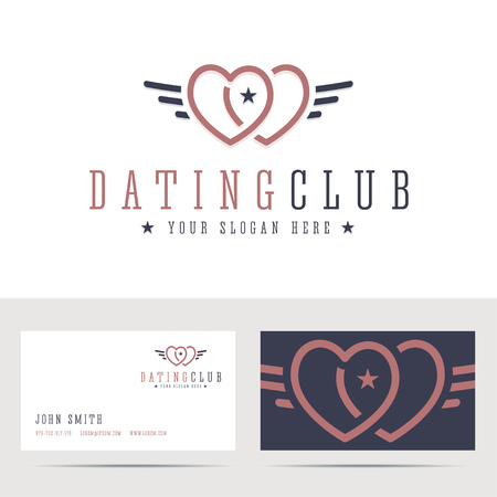 dating: Dating club and business card template. Two hearts sign with angel wings. Online dating in retro, vintage, hipster style. illustration. Illustration