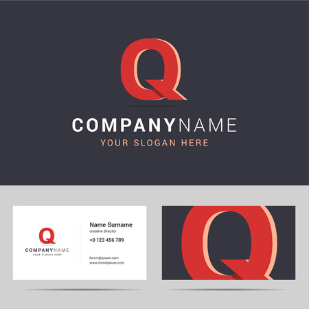 sided: template and business card template. with Q letter sign. Two sided business card layout. Q letter with overlapping and 3d effects. illustration.