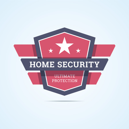 Home security badge. Home guard . Ultimate protection stamp with shield and geometric wings. illustration in flat style.