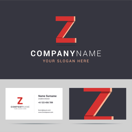 template and business card template. with Z letter sign. Two sided business card layout. Z letter with overlapping and 3d effects. illustration. Illustration