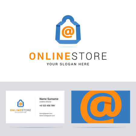 business sign: and business card template for online shop, online store. Blue shop bag sign with email sign. Flat, origami and overlapping style. illustration. Illustration