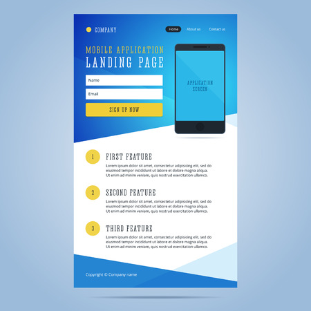 La página de destino para la promoción de aplicaciones móviles. Newsletter, plantilla de correo electrónico para la aplicación móvil con el teléfono inteligente y formulario de inscripción. ilustración.