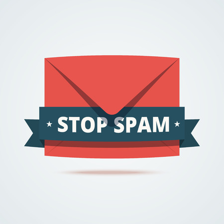 spammer: Stop spam illustration. Red envelope with dark decorative ribbon and text stop spam. Envelope icon. Email marketing illustration.  illustration in flat style.