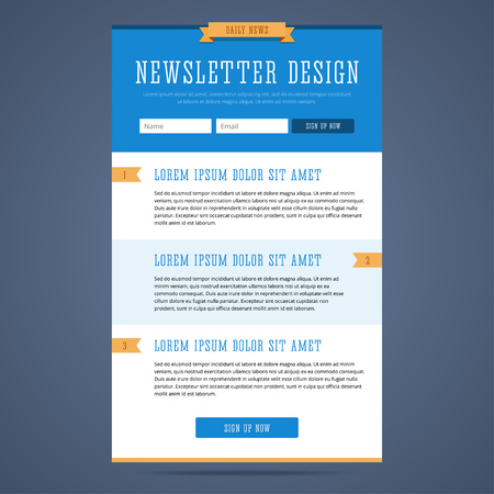 Newsletter page design. Web design for email marketing. Landing page with sign up form and features. Daily news email template. illustration in flat style. Çizim