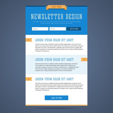 Nieuwsbrief pagina-ontwerp. Webdesign voor e-mail marketing. Landing page met teken up vorm en functies. Dagelijks nieuws e-mail template. illustratie in vlakke stijl.