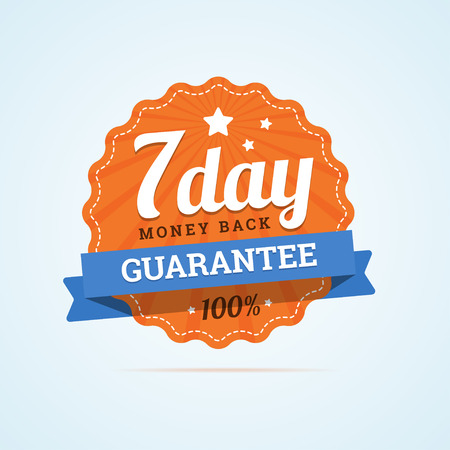 Seven day guarantee money back badge. 7 day money back label. Paper badge in flat style with ribbon, stroke line, stars and rays. illustration in flat style.