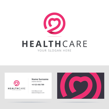 medical heart: Healt care and business card template.  business card for dating club. for clinic, medical center, fitness center. illustration in flat style.