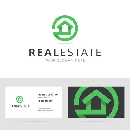 realty residence: Real estate and business card template. House guard . Home cleaning agency . Home . Property . House service and business card. illustration in flat style.